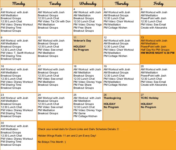 November 2020 Schedule